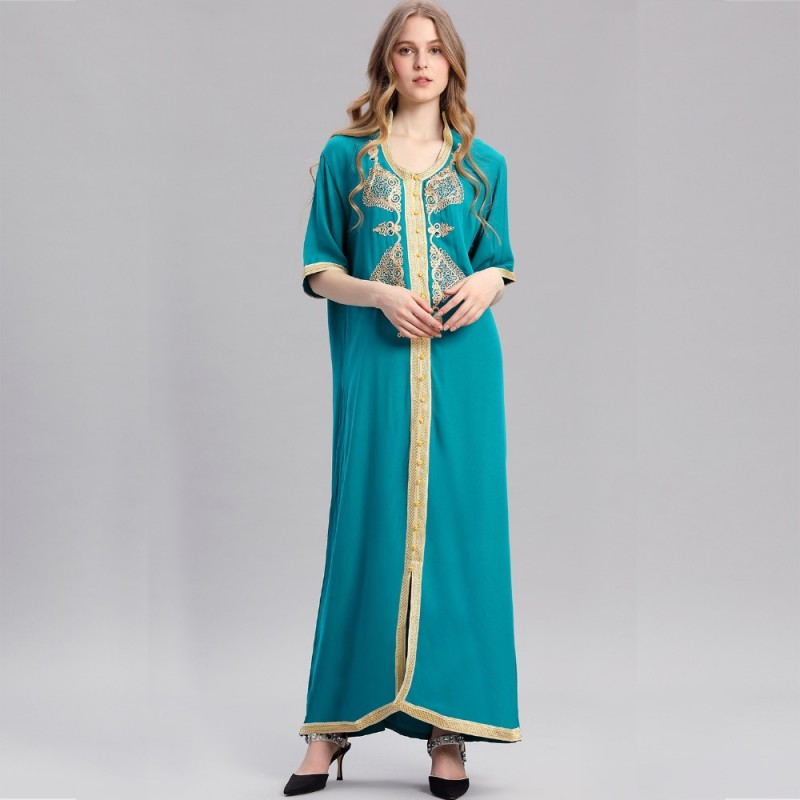 024e184aa68 Women islamic clothing Maxi Long sleeve long Dress moroccan Kaftan  embroidery dress vintage abaya Muslim Robes ...