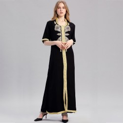 Women islamic clothing Maxi Long sleeve long Dress moroccan Kaftan embroidery dress vintage abaya Muslim Robes gown hijab style