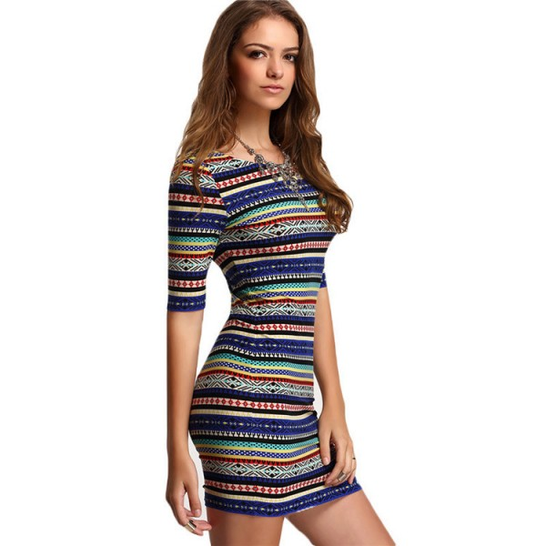 Women summer dresses sexy round neck half sleeve short bodycon dress hot lady party fashion vestidos de fiesta 3129