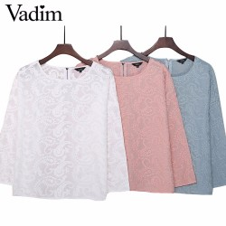 Women sweet Jacquard embroidery shirt pink blue white o neck loose blouse ladies summer fashion casual tops blusas LT1608