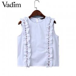 Women sweet ruffles beading crop top sexy sleeveless shirt o-neck white blouse ladies summer brand casual tops blusas WT399