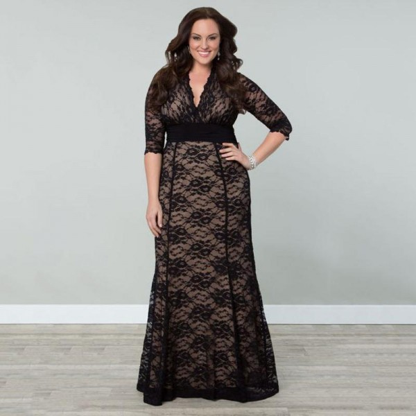 Womens Plus Size Lace Winter Gown Dresses 2016 Autumn Women Maxi