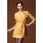 Women's embroidered organza women dress 2017 spring and summer new three quarter sleeve vintage ethnic embroidery dress S-4XL