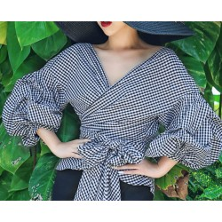 Women's new Lantern Sleeve plaid blouse Bow Tie design v neck sexy off shoulder tops Lace Up Shirt blouses for women