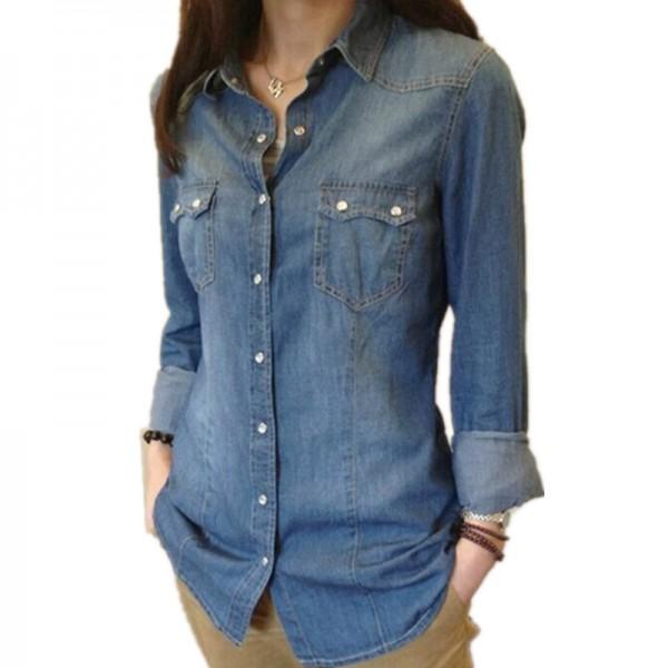 Womens Chambray Shirt Top Denim Shirts And Blouses Long