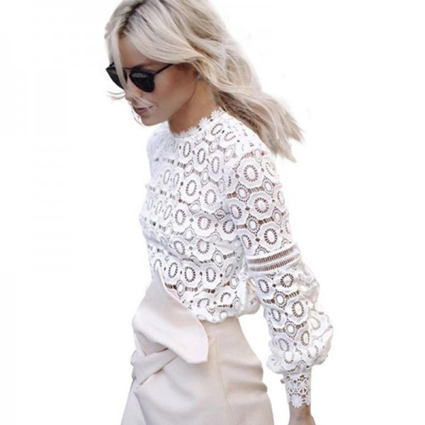 Womens Elegant Floral Lace Blouse Shirt Women Lantern Sleeve White Blouse 2016 Autumn Winter Hollow Out Short Top Blouses Blusas