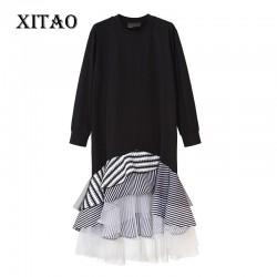 [XITAO] 2016 Street tide women splicing striped pleated hem female long sleeve Pullover ruffles O-neck knee length dress ML024