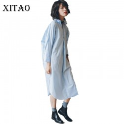 [XITAO] 2017 new spring autumn Europe fashion female temperament v-neck loose long sleeve solid color all-match dress HJF026