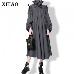 [XITAO] Euorpe and USA 2016 autumn new runway female personality turtleneck and band Lantern Sleeve solid color Dress  LL008