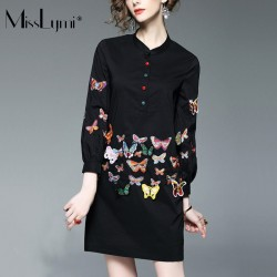 XXXL 4XL 5XL Plus Size Women Shirt Dress 2017 Spring Stand Collar Long Sleeve Butterfly Embroidery Slim Casual Elegant Dresses