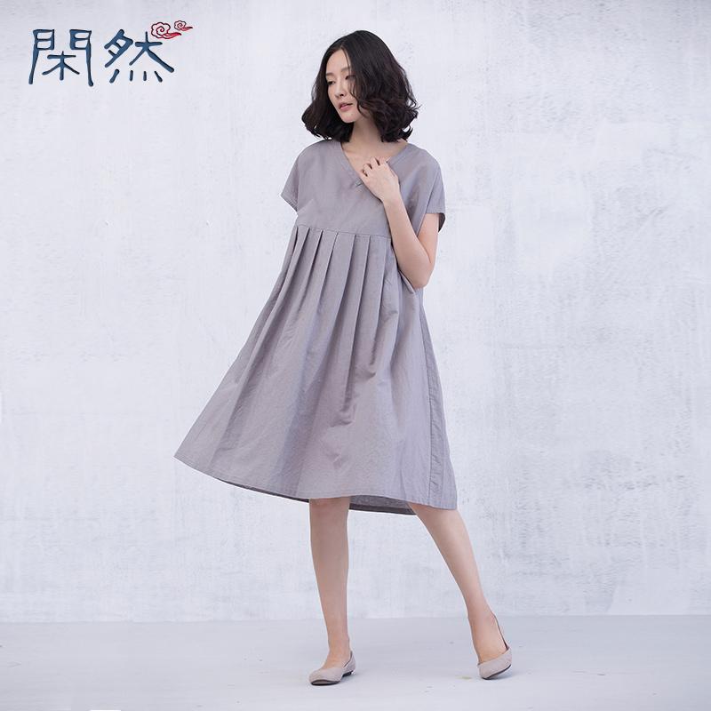 Xianran Women Dress Loose Waist Fold Dresses Plus Size Dress Free