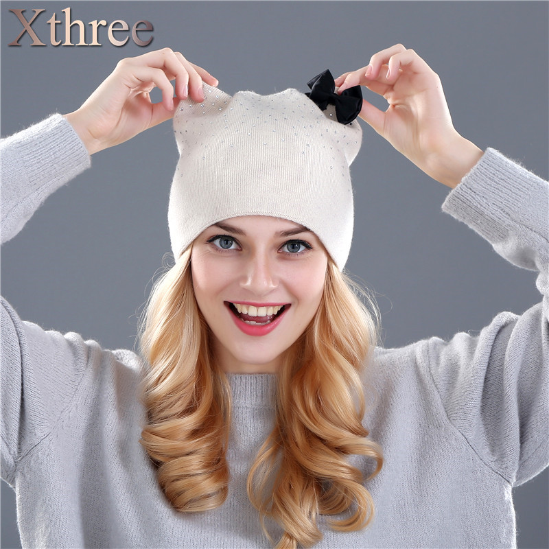 Xthree Rabbit Fur Wool Knitted Hat Winter Spring Skullies Beanies
