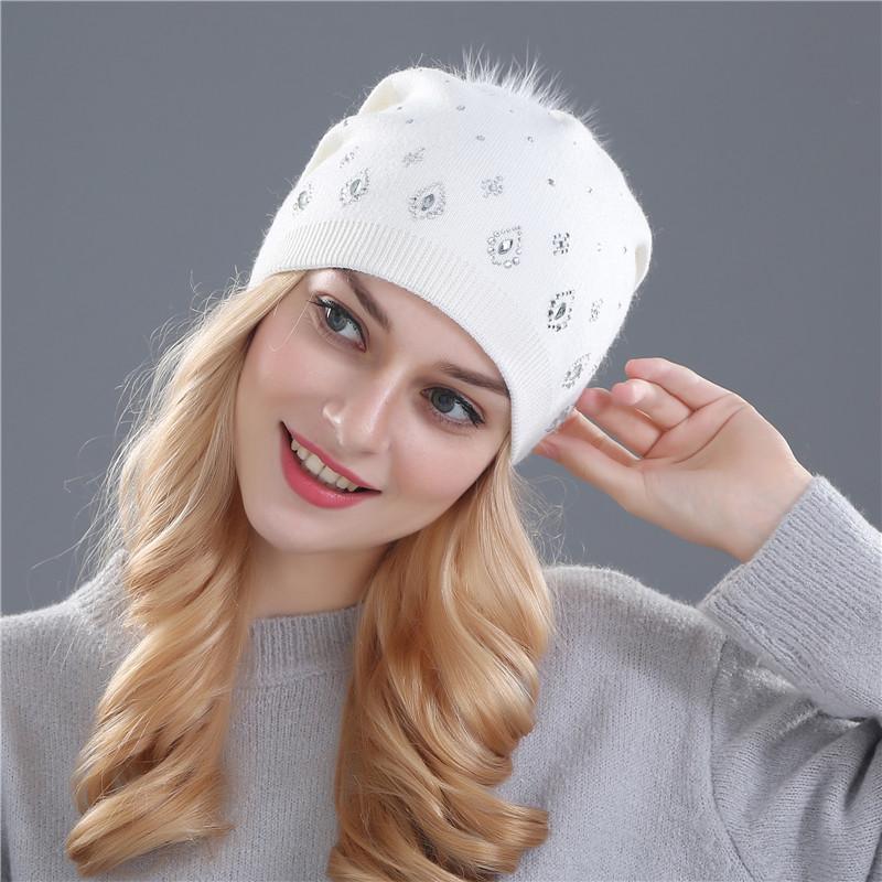Xthree women s winter beanies hat for women Shining Rhinestone Rabbit fur  wool knitted hat the female ... 78847f4c527d