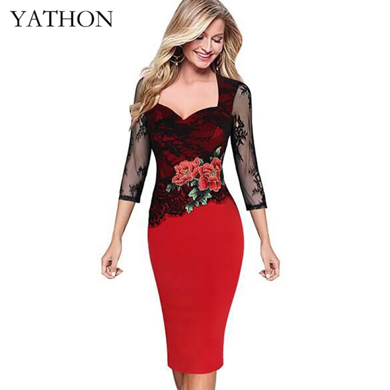 Yathon Plus Size 5xl Embroidered Lace Bodycon Dresses For