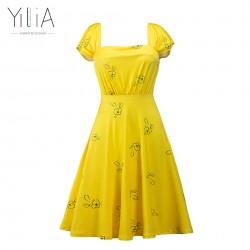 Yilia 2017 New La La Land Dress Mia Emma Stone Summer Yellow Floral Skater Dress Vestidos Plus Size Short Sleeves Floral Vintage