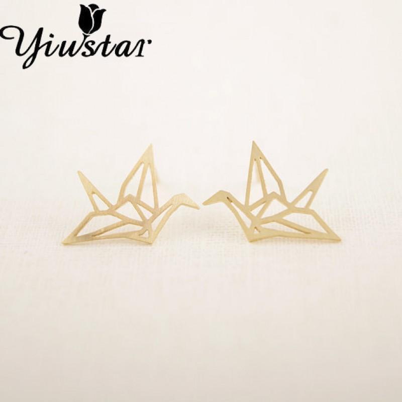 Yiustar Earring New Fashion Trendy Gold Silver Pink Origami Crane ...