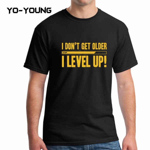 Yo-Young Men Summer T Shirts Funny Letters Design Golden PU Printed 100% 180g Combed Cotton Customized