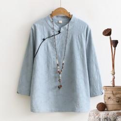 YoYiKamomo 2017 Cotton Women vintage shirt spring new original retro buckle shirt  women tops