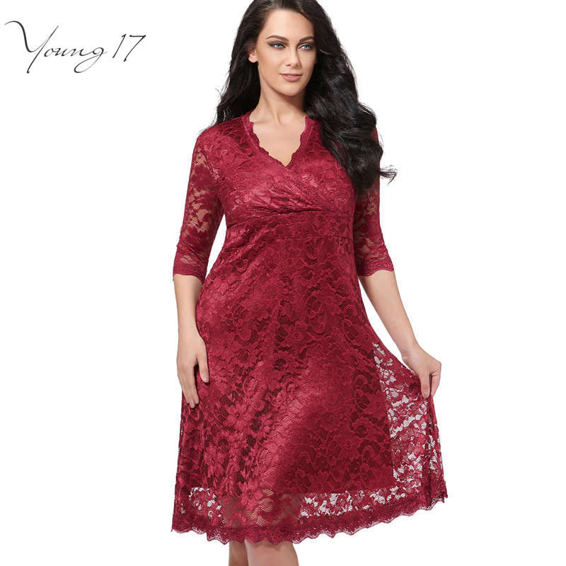 Young17 Plus Size Lace Dress Women Sexy V Neck Half Sleeve A Line