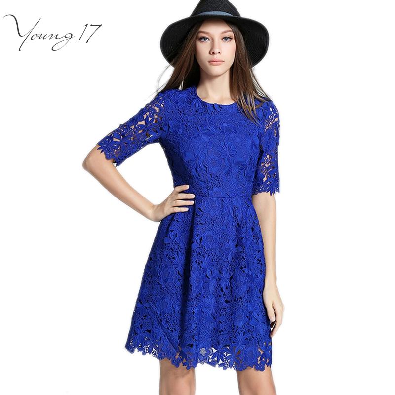 Young17 Women Autumn Dress Lace Zipper Blue S 2xl Plus Size Elegant