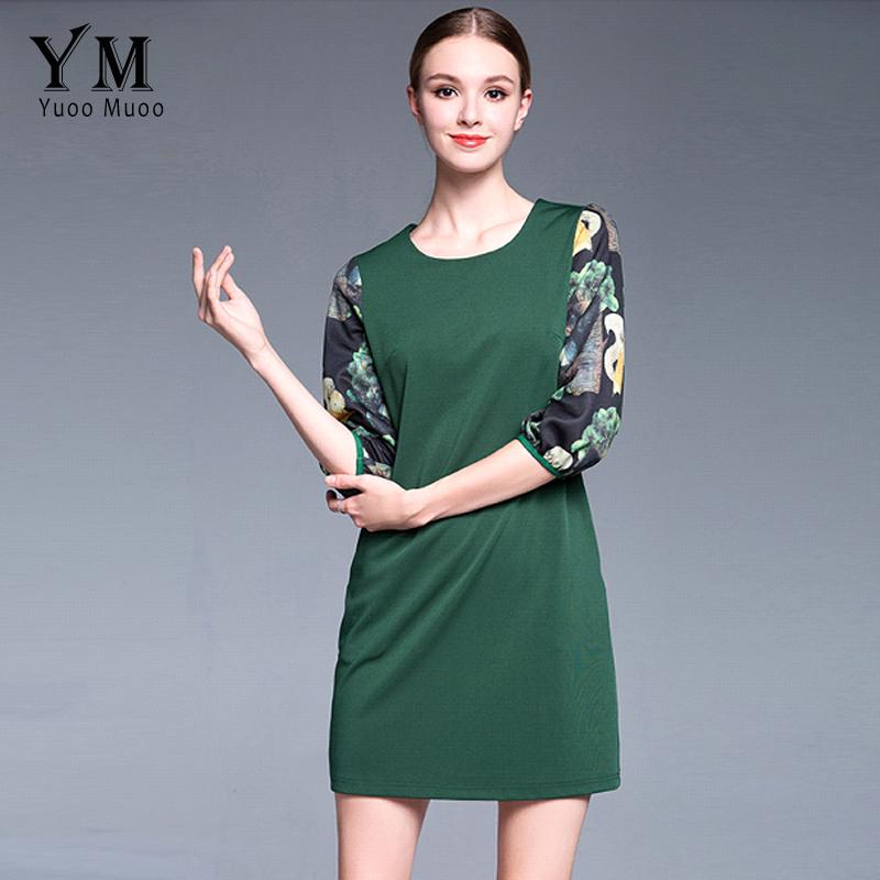 Yuoomuoo New Casual Plus Size Women Straight Green Dress Female