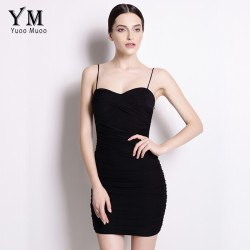 YuooMuoo New Sexy Bodycon Dress Women Little Black Dress Spaghetti Strap Club Mini Dress Sundress Hot Sale Women Clothing
