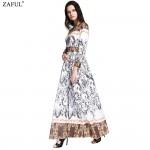 ZAFUL 2018 Vintage Boho Dress Women Elegant Abstract Print O Neck Long Sleeve Spring Autumn Dress Long Maxi Dress Vestidos