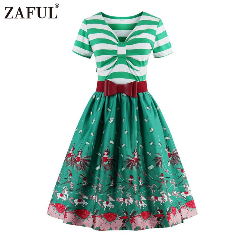 2cdfe5aea3399 ZAFUL Brand Elegant Women Floral 50s Vintage Dress Belts Retro Plus Size S~ 4XL Chic Feminino Vestidos Cotton A Line Party Dress