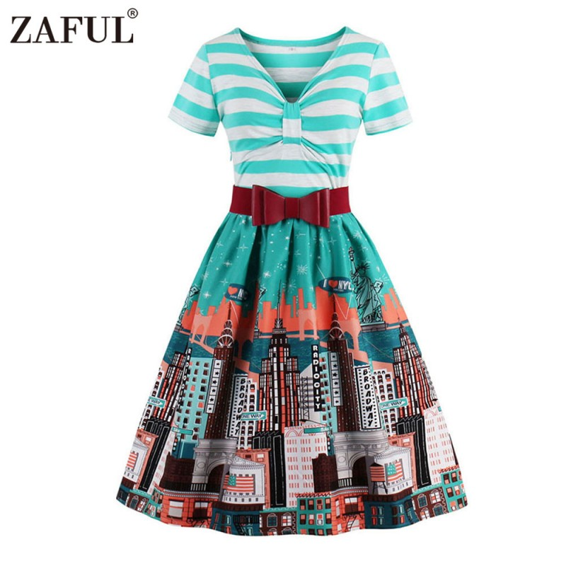 d5ff92b6ac49f ZAFUL Brand Elegant Women Floral 50s Vintage Dress Belts Retro Plus Size S~ 4XL Chic Feminino Vestidos ...