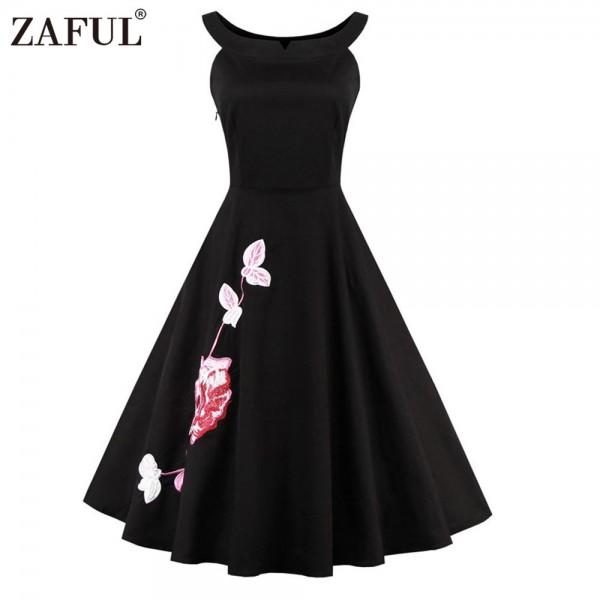 ZAFUL Brand Plus Size Women Dress Vintage robe rockabilly 50s Black Embroidery Sleeveless Swing Party Dresses Feminino Vestidos