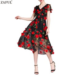 ZAFUL Brand Women Summer Cocktail Party Flower Dress Elegant A Line Rose Floral Mid-Calf Appliques Dress Club Vestidos de feast