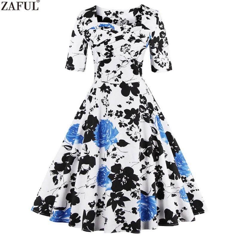 09689e2a9d3 ZAFUL Elegance Style Women Rose Floral Print Vintage Dress 60s Swing Retro  Party Dress Feminino Vestidos 2018 New Summer Dresses