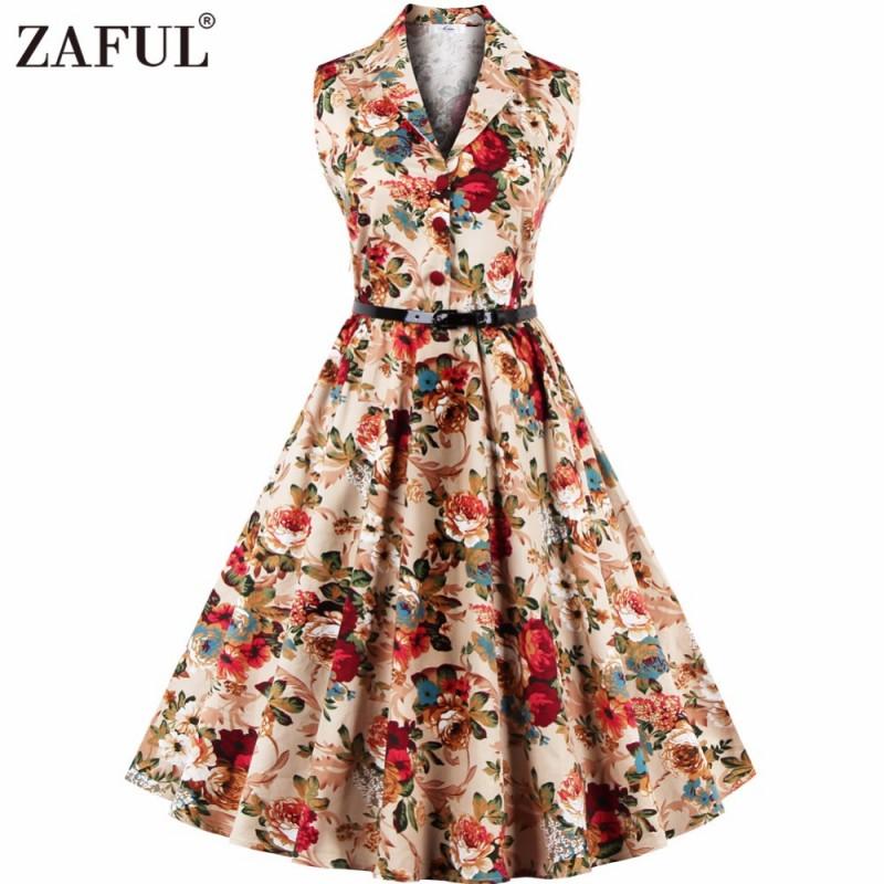 ZAFUL Floral Print Vintage Midi Dress Women Sleeveless Party ...