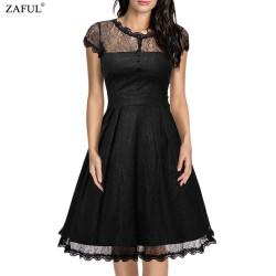 ZAFUL New Black Women Retro Dress Audery Vintage Elegant 1950S 60S Short Sleeve Big Hem Lace Party Dresses Feminino Vestidos