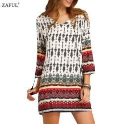 ZAFUL New Spring Women ethnic Dress Print tassel Long Sleeve vintage dress V-neck mini Loose Casual Dress Feminino Vestidos