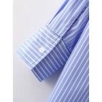 ZAFUL New Striped Floral Embroidered Shirt Dress Women turn-down collar Long Sleeve Button Shirt Dress feminino vestidos