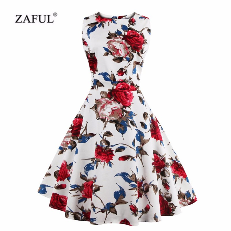 ZAFUL Plus Size 4XL Women Summer Vintage Dress Elegance ...