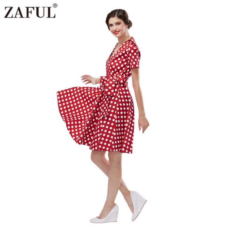 56705bcfb16d6 ZAFUL Plus Size S-4XL Women Retro Dress 50s 60s Vintage Rockabilly Swing  feminino vestidos V neck ...