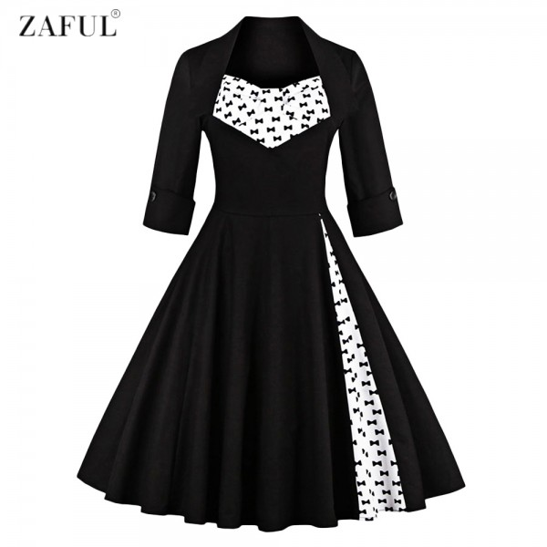 ZAFUL Plus Size S~4XL Women Elegant Vintage Swing Dress Party Dresses 3/4 Sleeves Square Neck 60s Rockabilly Feminino Vestidos