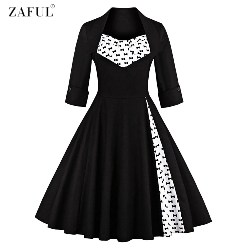 cefe27e05b ZAFUL Plus Size S~4XL Women Elegant Vintage Swing Dress Party ...