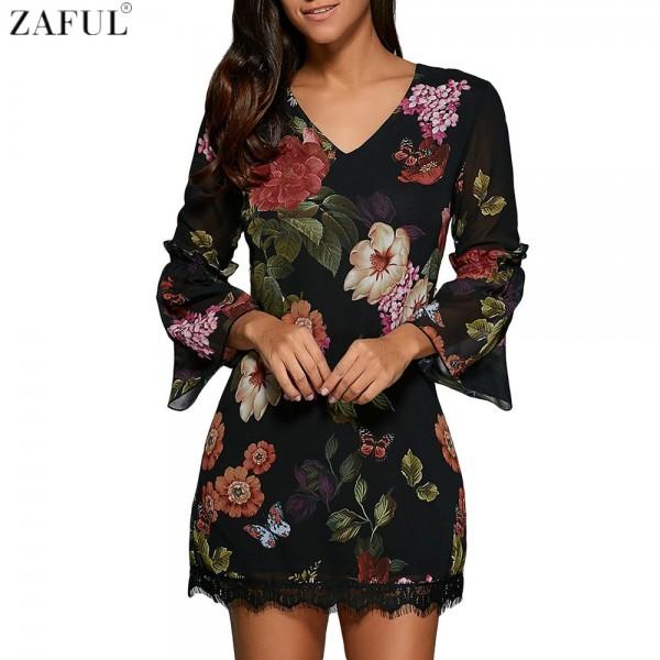ZAFUL Sexy Women V Neck Black Floral Bohemian Dress 3/4 Sleeved thin Chiffon See-through Feminino Vestidos Casual Lace Hem Dress