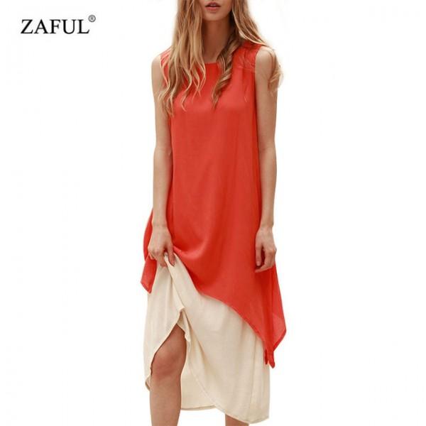 ZAFUL Summer Women Bohemian Dress Vintage Retro Linen Sleeveless Loose Woman Boho Long Maxi Dresses Twinset Female Vestidos