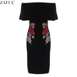 ZAFUL Woman Bodycon Dress Sexy Slash Neck Off Shoulder Black Velvet Floral Embroidery Slim Party Stretch Bandage High Waist Dres