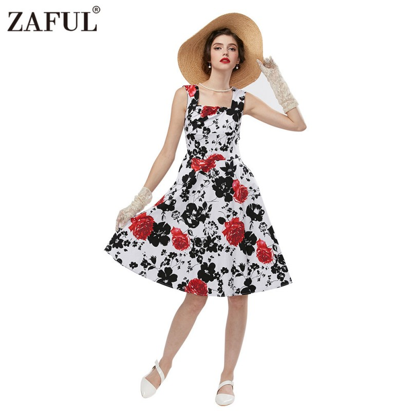 364085752 ZAFUL Women Rose Floral Vintage Dress 50s Audrey hepburn Rockabilly Ball  gown Plus sizes S~4XL Party Swing Feminino Vestidos