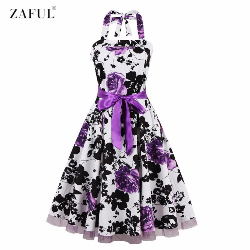 64954230cee ZAFUL Women Summer Floral 60s Vintage Dress Big Size S~2XL Belts Party  Swing Feminino Vestidos Halter Sleeveless Lace Hem Dress