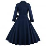 ZAFUL Women Turn Down Collar Plus Size S~4XL Belts Retro Vintage Dress Rockabilly Feminino Vestidos 60s Swing Party Dress Female