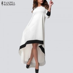 ZANZEA Autumn 2017 Fashion Womens Chiffon Maxi Long Dress Patchwork Asymmetrical Dress 3/4 Sleeve O Neck Vestidos Plus Size
