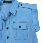 ZANZEA Women Summer Demin Blue Solid Tops Vintage Blouses 2018 Ladies Sexy Blusas Lapel Neck Short Sleeve Pockets Buttons Shirts