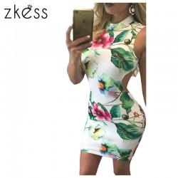 ZKESS women Retro Floral Print Open Back Sleeveless Mini party Dress 2017 new Sexy Femme Slim Bodycon Dresses Vestidos LC22971