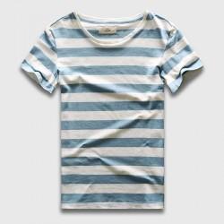 Zecmos New Men Stripe T-Shirt Fashion O Neck Short Sleeved Slim Fit Blue Striped T shirt Man
